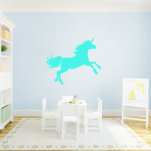 """Unicorn Silhouette Wall Decal 36"""" wide x 31"""" tall Sample Image"""