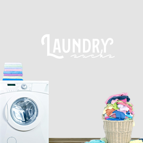 """Laundry Sucks Wall Decal 36"""" wide x 12"""" tall Sample Image"""