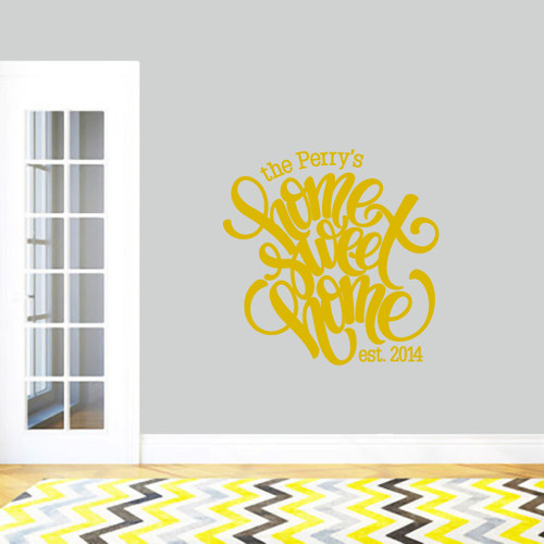 "Custom Home Sweet Home Wall Decal 36"" wide x 36"" tall Sample Image"