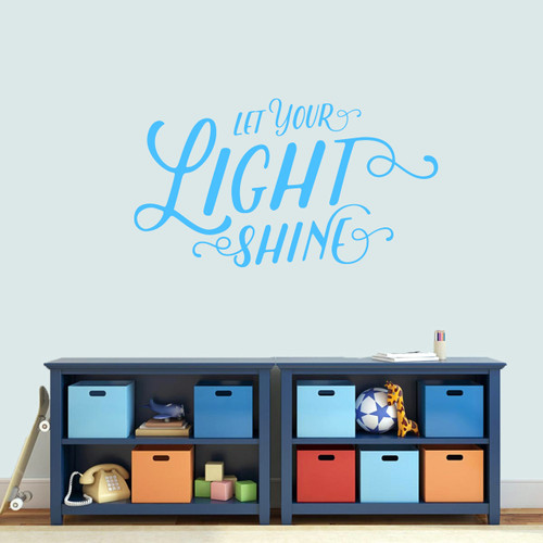 "Let Your Light Shine Wall Decal 36"" wide x 20"" tall Sample Image"
