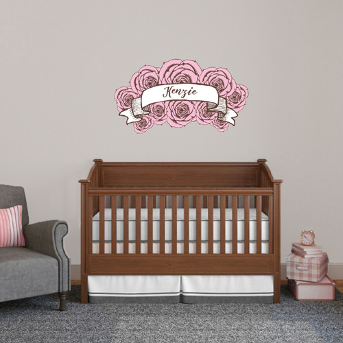 """Custom Name Pink Roses Printed Wall Decal 36"""" wide x 20"""" tall Sample Image"""