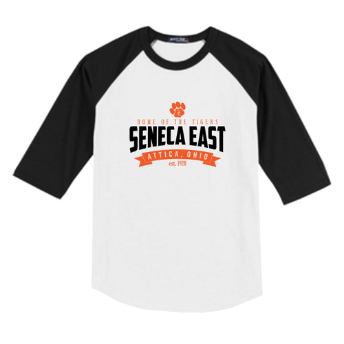 White / Black Seneca East Home Of The Tigers Youth Unisex 3/4 Length Sleeve Raglan T-Shirt