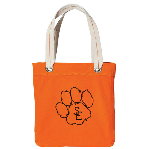 Bright Orange / Chocolate Seneca East Paw Print Tote Bag