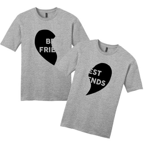 Light Heathered Gray Best Friends Heart T-Shirts