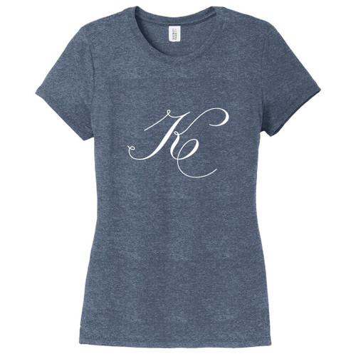 Navy Frost Fancy Single Monogram Women's Fitted T-Shirt