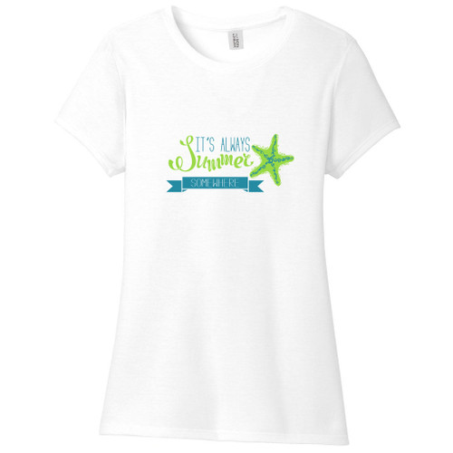 White It's Always Summer Somewhere Women's Fitted T-Shirt