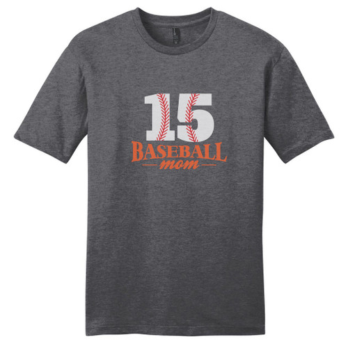 Heathered Charcoal Custom Baseball Mom T-Shirt