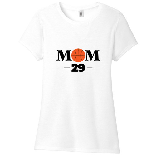 White Custom Basketball Mom Women's Fitted T-Shirt