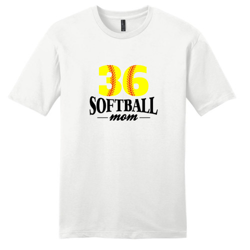 White Custom Softball Mom T-Shirt