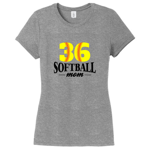 Gray Frost Custom Softball Mom Women's Fitted T-Shirt
