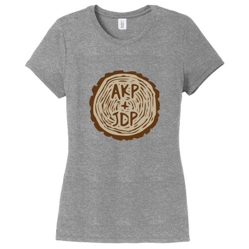 Gray Frost Custom Carved Tree Trunk Women's Fitted T-Shirt