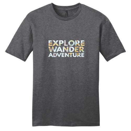 Heathered Charcoal Explore Wander Adventure T-Shirt