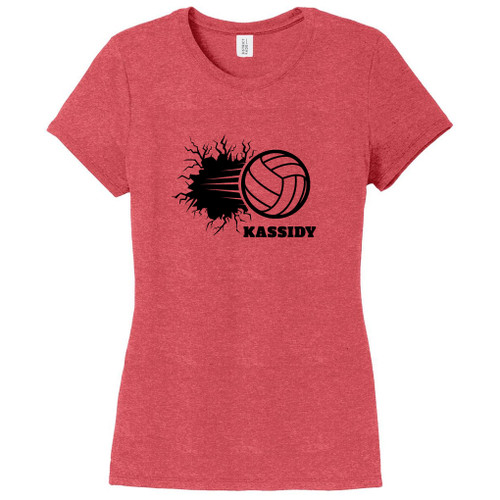 Red Frost Custom Volleyball Breaking Through Wall Women's Fitted T-Shirt