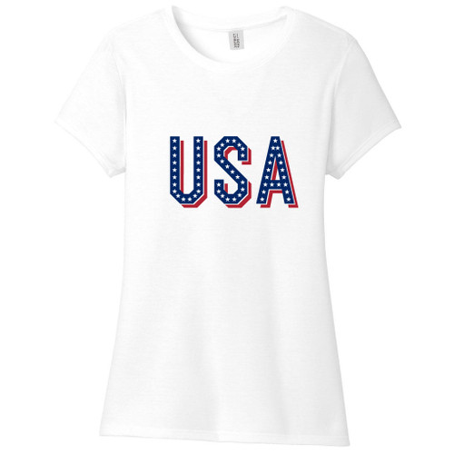 White USA Women's Fitted T-Shirt