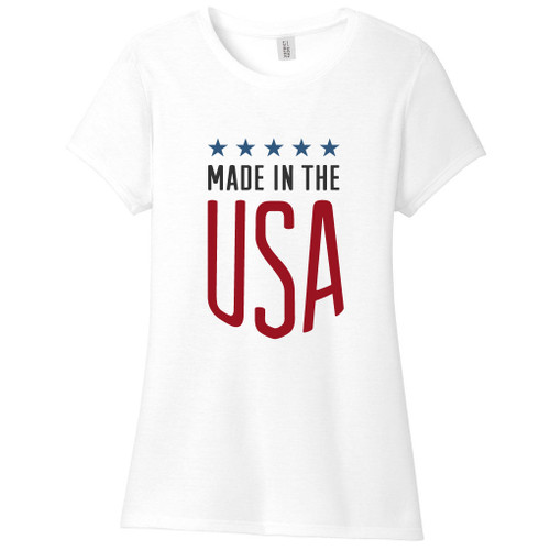 White Made In The USA Women's Fitted T-Shirt