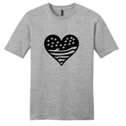 Light Heathered Gray Heart Flag T-Shirt