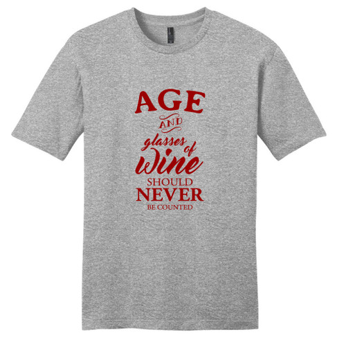 Light Heathered Gray Age And Glasses Of Wine T-Shirt