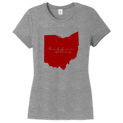 Gray Frost Tiffin Ohio State Women's Fitted T-Shirt