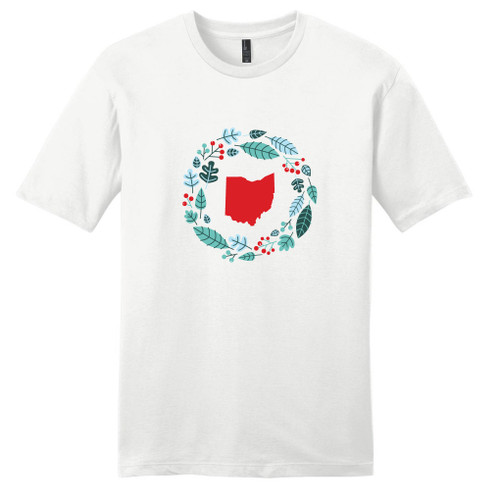 White Custom State Winter Wreath T-Shirt