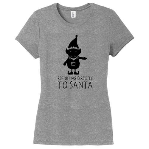 Gray Frost Elf Reporting Directly To Santa Women's Fitted T-Shirt