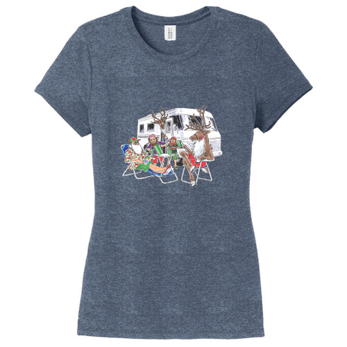 Navy Frost Santa's RV Women's Fitted T-Shirt