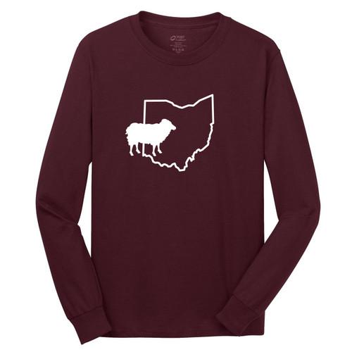 Athletic Maroon Custom State Sheep Silhouette Long Sleeve T-Shirt
