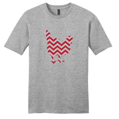 Light Heathered Gray - Red and Gray Chevron Custom Pattern Chicken Silhouette T-Shirt