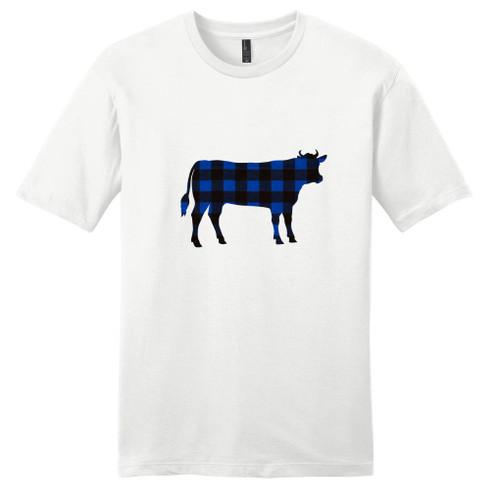 White - Black and Blue Plaid Custom Pattern Cow Silhouette T-Shirt