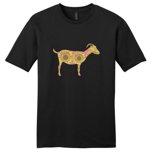 Black - Sunflower Custom Pattern Goat Silhouette T-Shirt