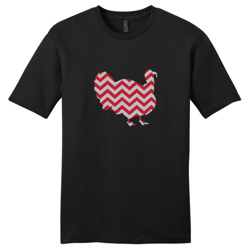 Black - Red and Gray Chevron Custom Pattern Turkey Silhouette T-Shirt