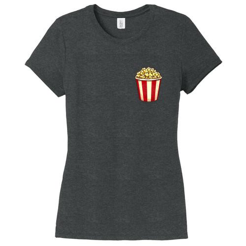 Black Frost Popcorn Pocket Print Women's Fitted T-Shirt