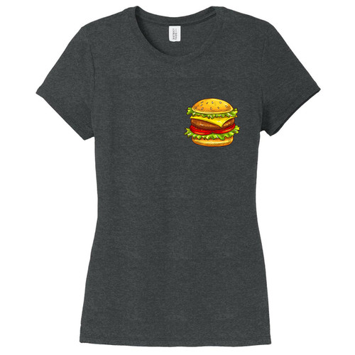 Black Frost Cheeseburger Pocket Print Women's Fitted T-Shirt