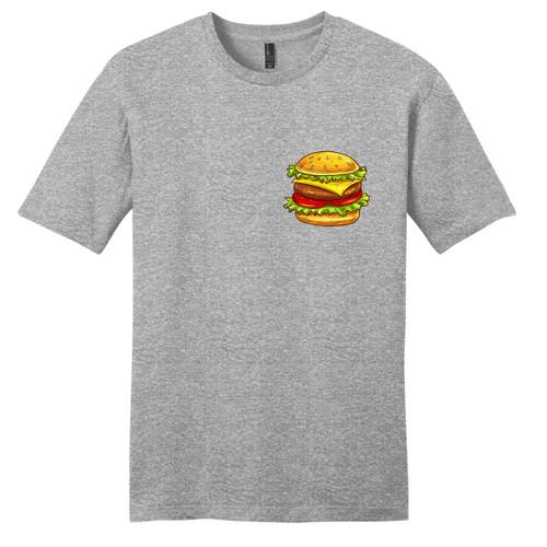 Light Heathered Gray Cheeseburger Pocket Print T-Shirt