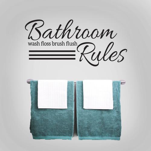 Bathroom rules wall