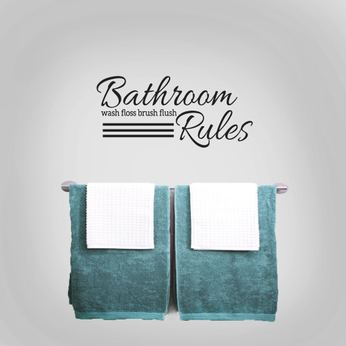 "Bathroom Rules Wall Decals 24"" wide x 11"" tall Sample Image"