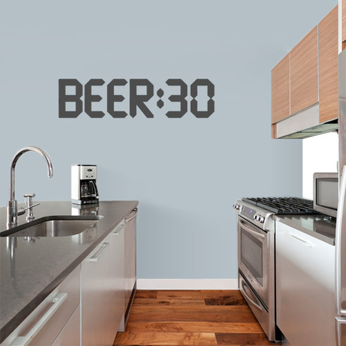 "BEER:30 Wall Decal 36"" wide x 9"" tall Sample Image"