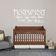 "Before I Formed You Wall Decals Wall Stickers 48"" wide x 20"" tall Sample Image"