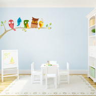 "Birds On A Limb Printed Wall Decals 48"" wide x 21"" tall Sample Image"