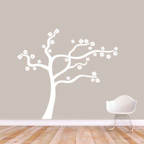 """Blowing Flower Tree Wall Decal Wall Stickers 60"""" wide x 54"""" tall Sample Image"""