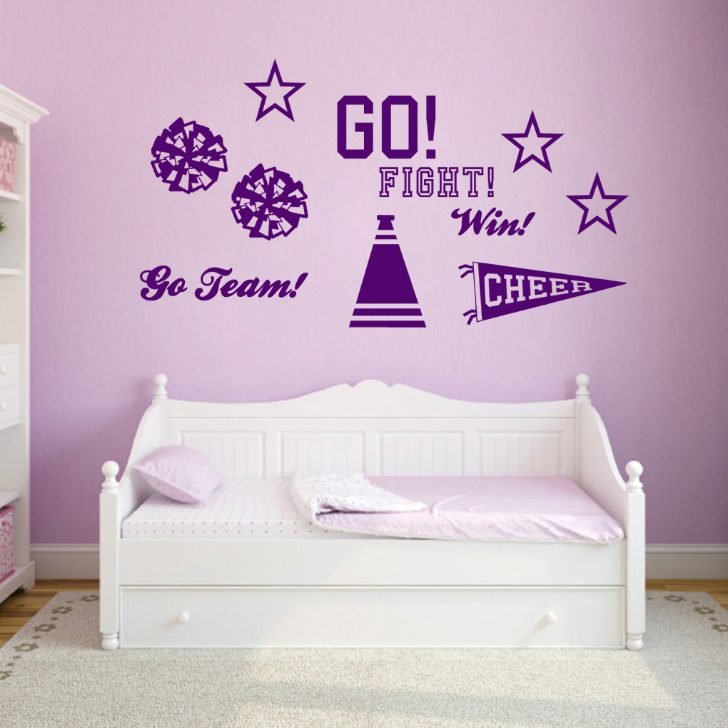 Cheerleading set wall decals wall art wall murals for Cheerleader wall mural