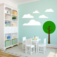 Clouds and Tree - Wall Decals and Stickers