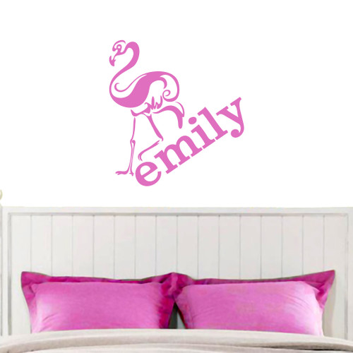 flamingo with custom name wall decals wall decor stickers custom wall sticker quote custom quote decal