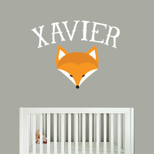 Custom Fox Name Printed Wall Decal and Stickers