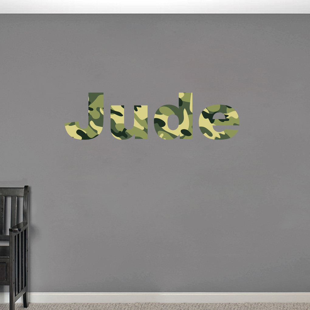 Custom camo name printed wall decals wall decor stickers for Camouflage wall mural