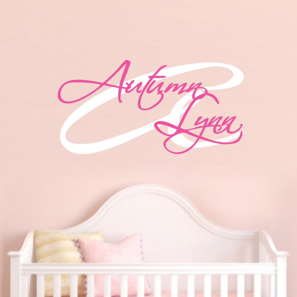 Custom monogram with name wall decal stickers for Monogram wall decal
