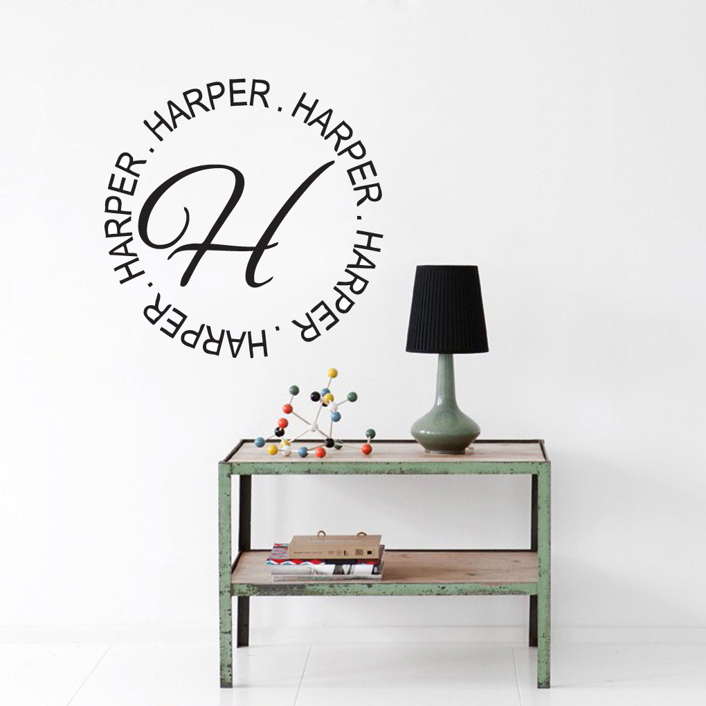 circle name with monogram wall decals wall decor stickers