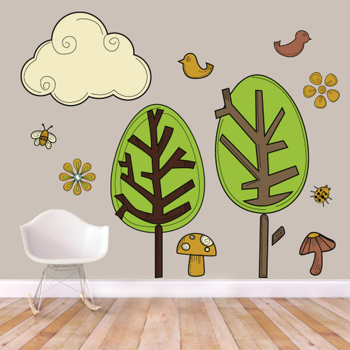 Cute Woodland Pack Printed Wall Decals and Stickers