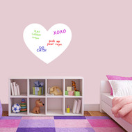 "Dry Erase Heart Wall Decals 24"" wide x 20"" tall Sample Image (writing not included)"