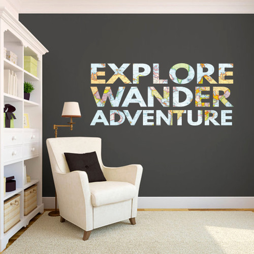 "Explore Wander Adventure Printed Wall Decals 60"" wide x 26"" tall Sample Image"