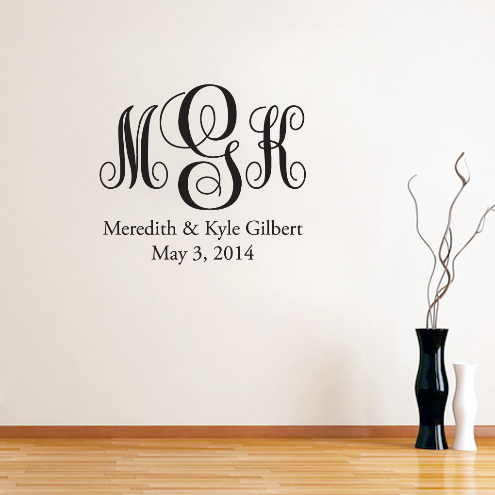 fancy monogram with name wall decals wall decor stickers full name fancy monogram wall decals wall decor stickers